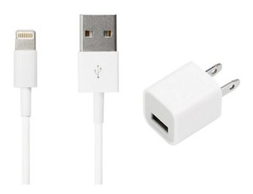 cargador para iphone taco de pared + cable usb lightning