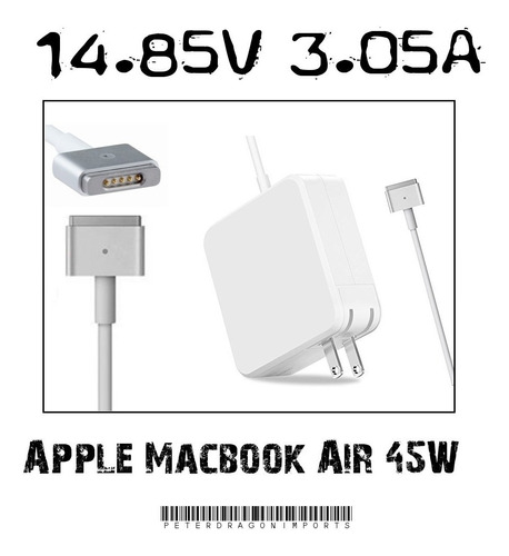 cargador para laptops macbook air +conector magsafe2 de 45w