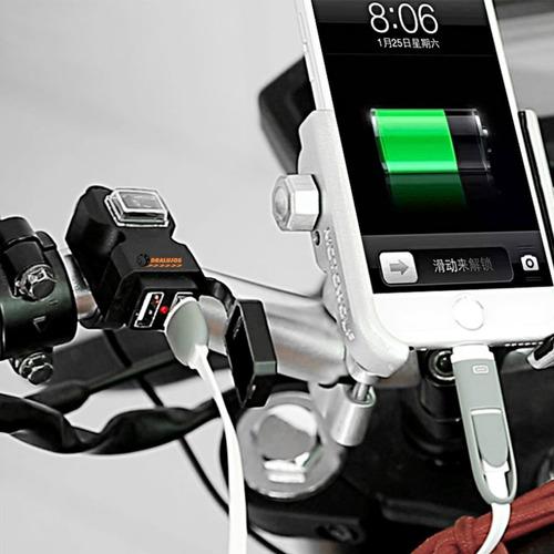 cargador para moto gps o celular,doble puerto usb 100% imper