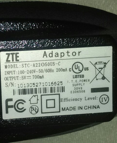 cargador pared mini usb zte model stc-a22o50u5-c pin grueso