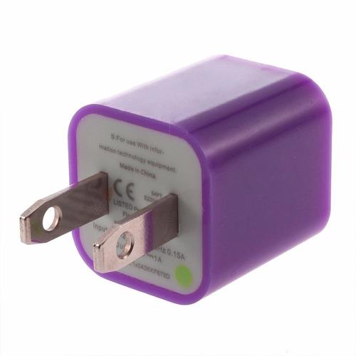 cargador pared púrpura verde ipod iphone cel s4 nokia galaxy