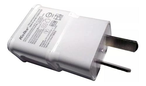 cargador p/celulares o tablets 220v a usb 5v 2a kolke 1m