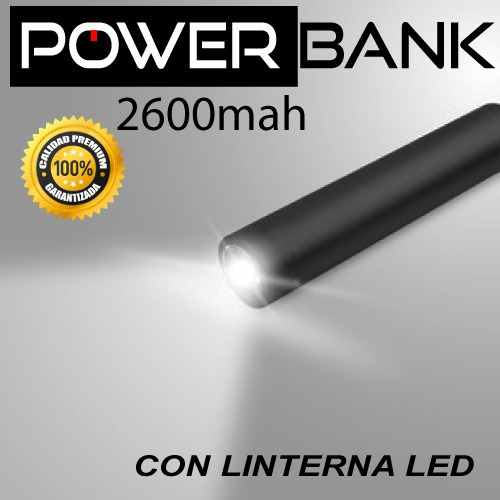 cargador portátil linterna led 2600mah power bank