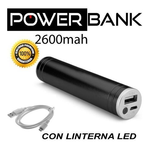 cargador portátil linterna led 2600mah power bank