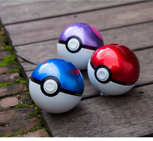 cargador portatil pokebola go- 12000 mah - doble entrada usb