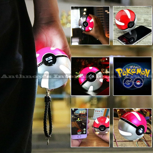 cargador portatil pokemon pokebola 10000 mah diseño luz led