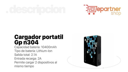 cargador portátil power bank gp n304 10400mah eps
