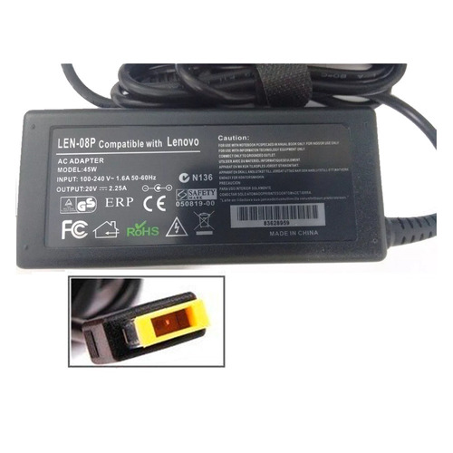 cargador premium lenovo 20v, 45w, 2.25a usb