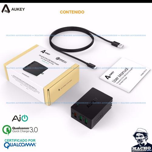 cargador rapido aukey pa-t14 quick charge 3.0 - 3 puertos