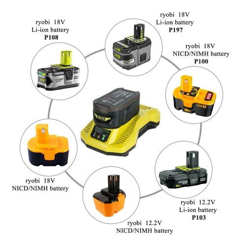 cargador rapido de 30 min p117 para ryobi de 18v one+