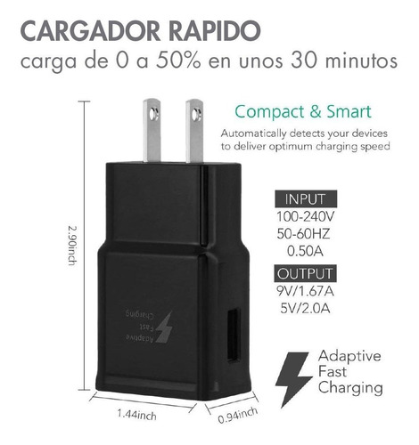 cargador rapido de pared tipo c original samsung s10 s9 s8 +