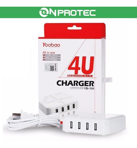 cargador rapido fast charger usb dual 2.1a 1a 4 salidas