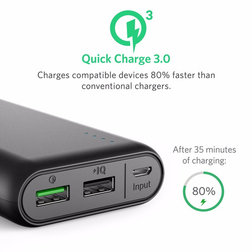 cargador rápido power bank anker 3.0 iphone se 6s 6 + 5s