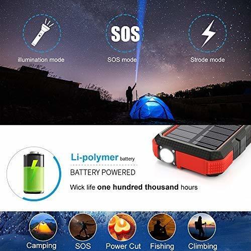 cargador solar 25000mah sendowtek 18w pd power bank usb c ca