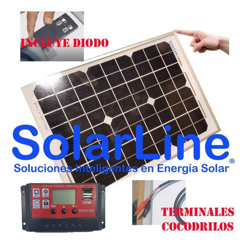 cargador solar para baterías 12v kit panel 10wp + regulador