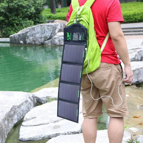 cargador solar plegable 18w allpowers 4 paneles y 2 usb 2.5a