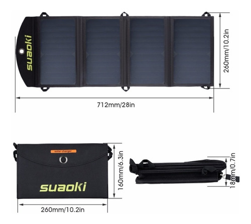 cargador solar portátil 25w waterproof portatil 4 paneles +