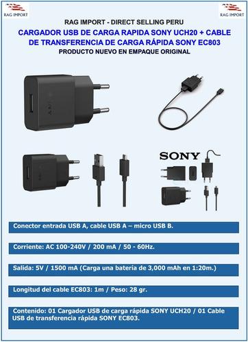cargador sony uch20 + cable ec803, xperia z1, z2, z3, z5, xa