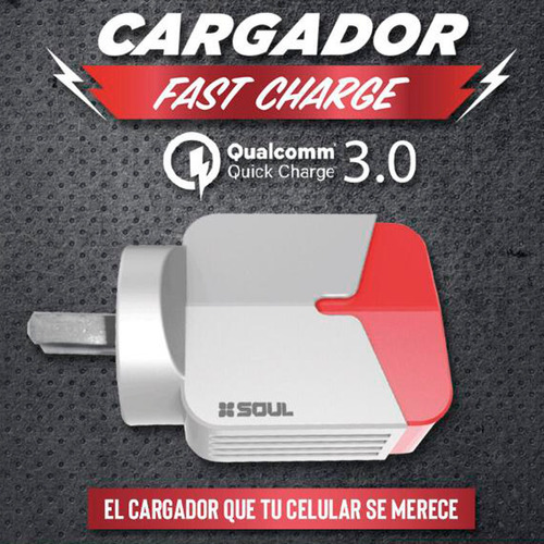 cargador turbo fast charge usbx3 pared qualcomm 3.0 tipo c