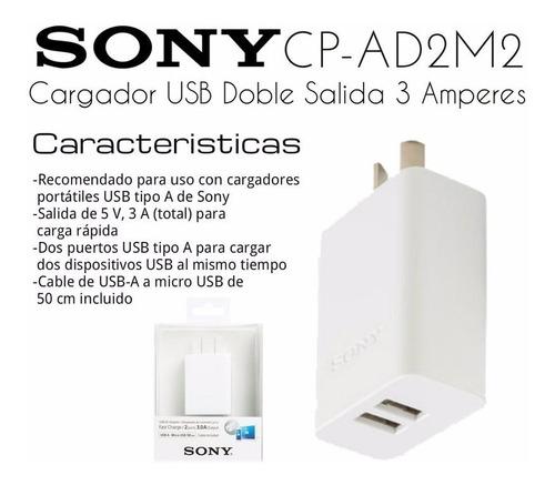 cargador ultra rapido dual usb sony + cable - factura a / b