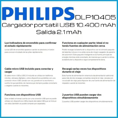 cargador ultra rapido portatil philips dlp10405 3.1a