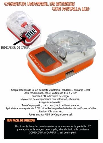 cargador universal digital de baterias mayor y detal