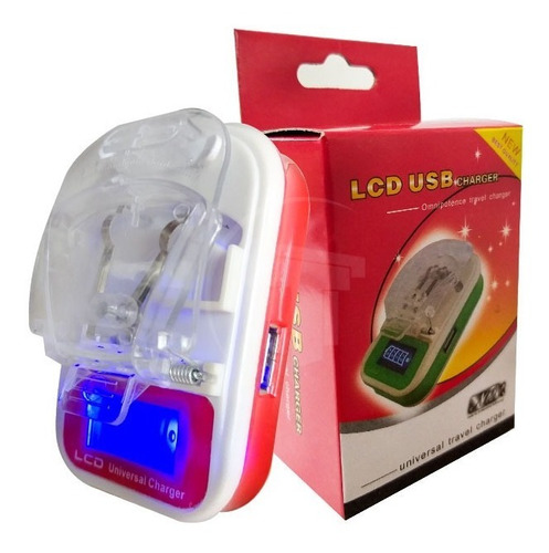 cargador universal lcd usb blanco rojo