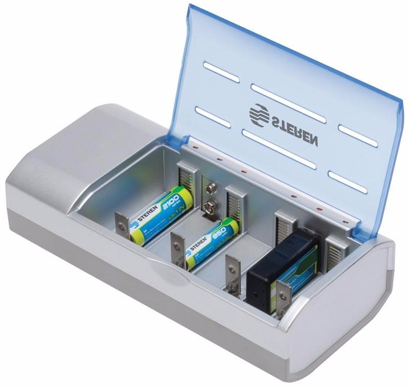 Cargador universal para pilas aa aaa c d 9v crg 500 steren - Tipos de pilas recargables ...