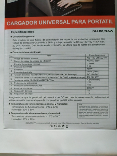 cargador universal portátil innovatech