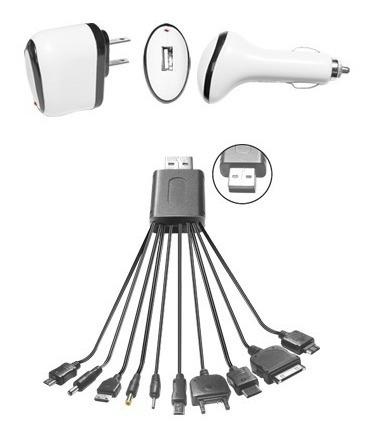 cargador usb 10 en 1 celulares blackberry ipod iphone etc...