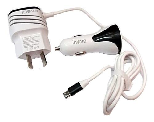 cargador usb 2a de auto y pared con cable micro usb