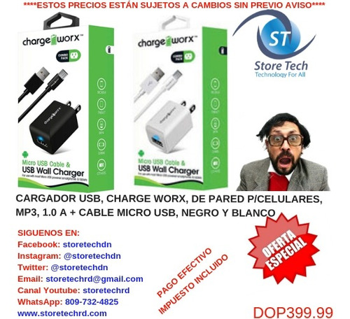cargador usb, charge worx, de pared p/celulares,mp3, 1.0 a +