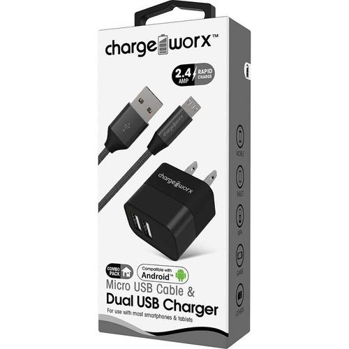 cargador usb de pared charge worx, dual usb 2.4a, + cable