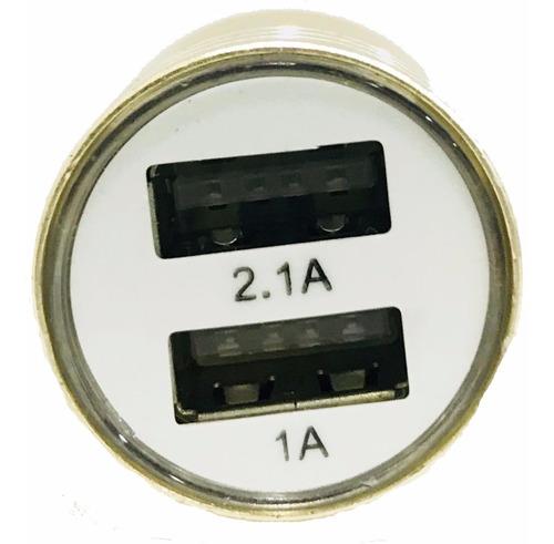 cargador usb doble 2a encendedor coche auto celular aluminio
