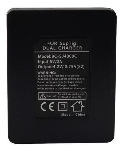 cargador usb, doble, p/bateria de cámara sport, gadnic, noga