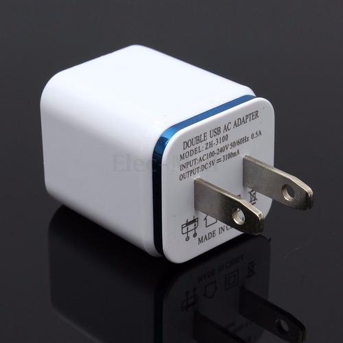 cargador usb doble salida de 1a y 2.1a celulares tablet ipad