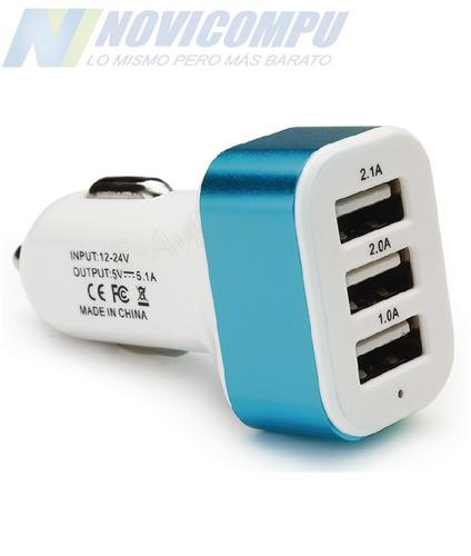 cargador usb para auto universal 3 puertos fonos y tablets