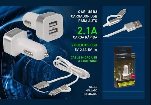 cargador usb para el auto noga car-usb3 cordoba sabattini