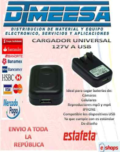 cargador usb para pared a 127 volts (usb - 127 v) dimeesa