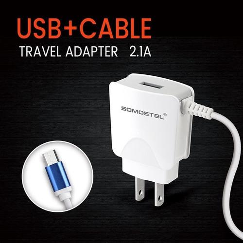 cargador usb pared dual con cable somostel calidad premium®
