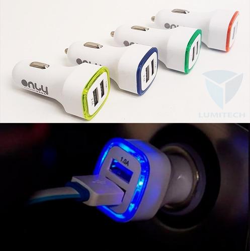 cargador vehículo luz led / only - cuadrado - 12v / 2 x usb