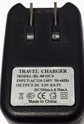 cargador viajero usb 110v 500ma 50/60 hz fuente de poder mp4
