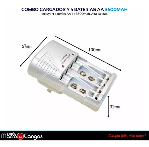 cargador y 4 pilas baterías recargables aa 3600mah
