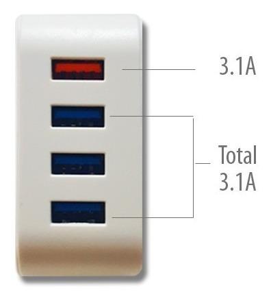 cargador zapatilla 4 puertos 3.0 usb rápido 6.2a premium