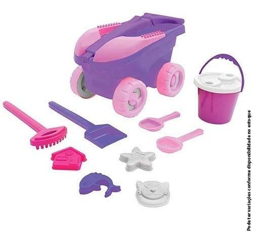 cargo brinquedo praia com 11 peças meninas carrinho balde pá