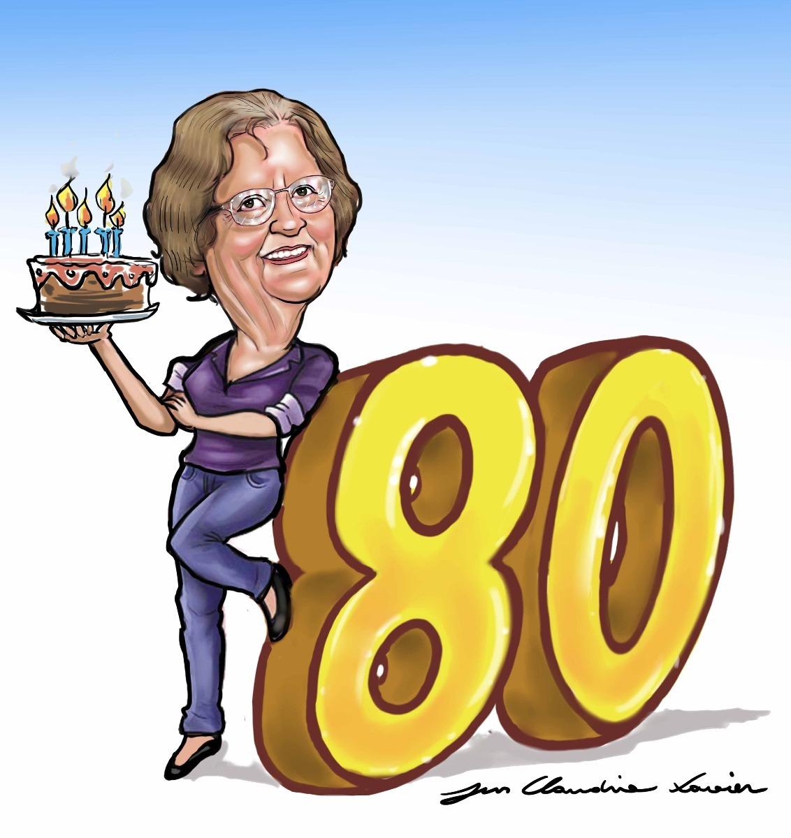 Caricatura Da Vovó Aniversario Com Bolo Vela 80 Anos Legal
