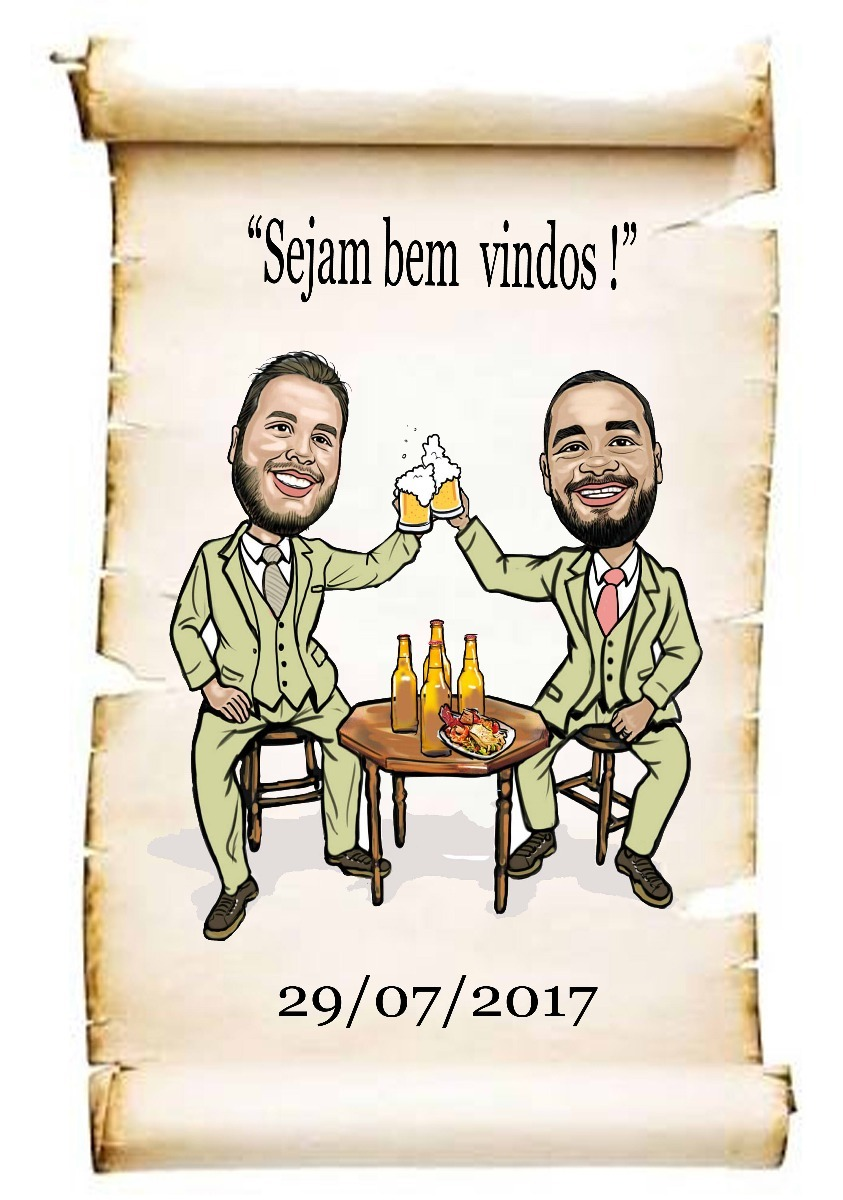 caricatura de casal brindando mesa copo de cerveja casamento r 49