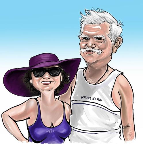 caricatura digital desenho pessoas foto cachorros casal