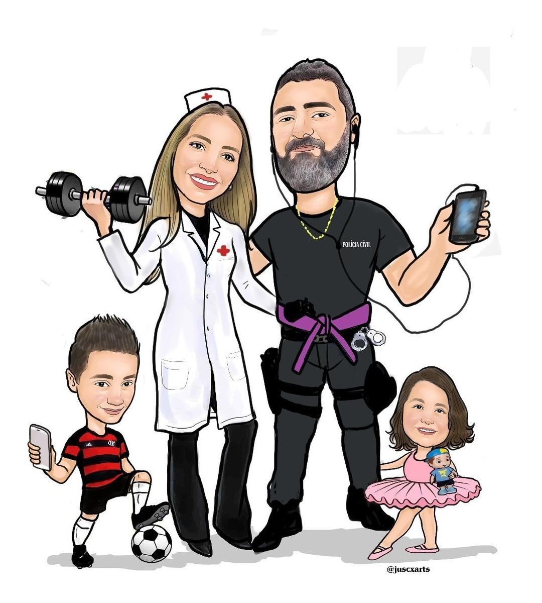 Caricatura Digital Desenho Pessoas Foto Cachorros Casal R 28 00