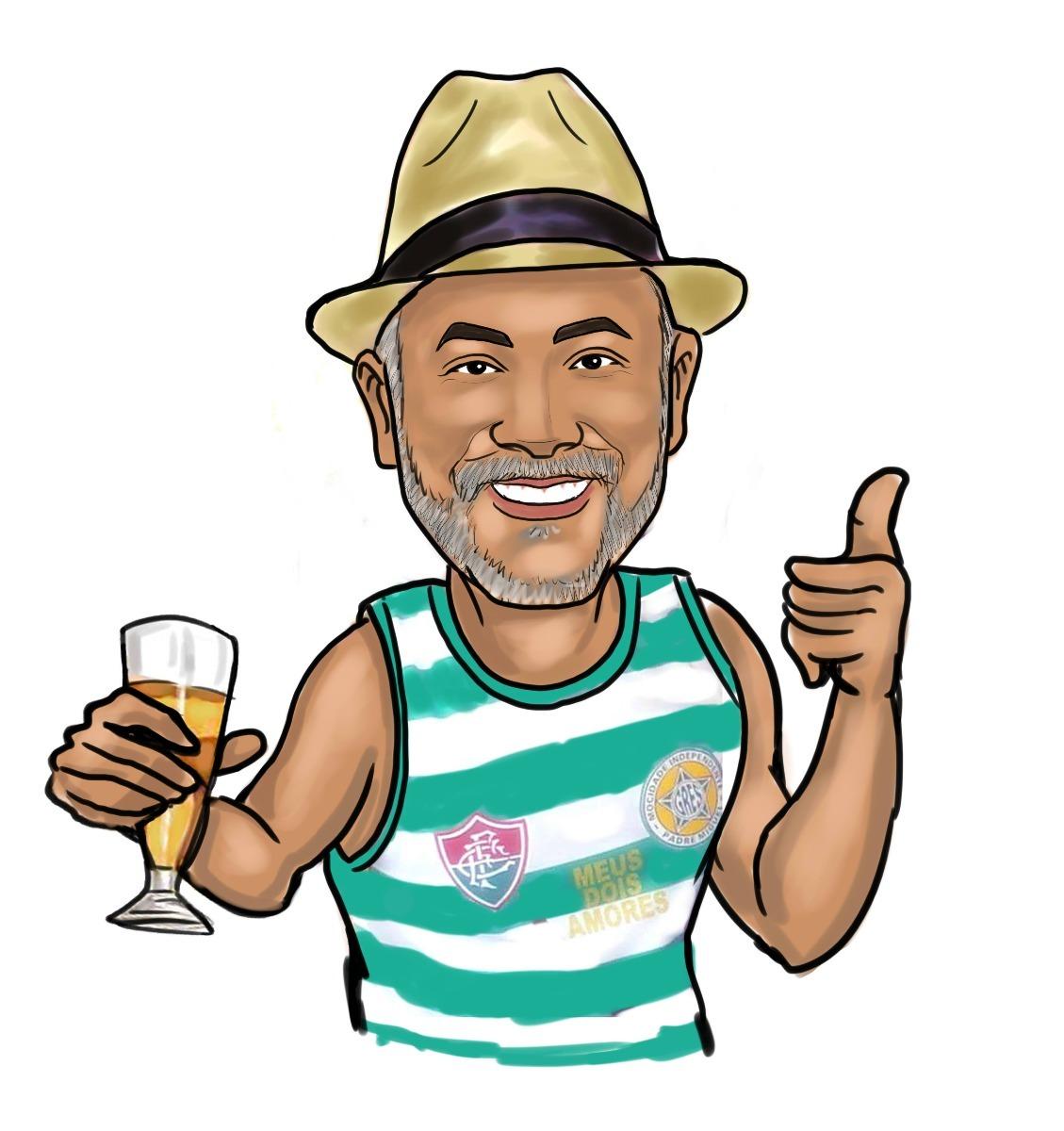 caricatura digital senhor copo de cerveja samba chapeu etc r 27